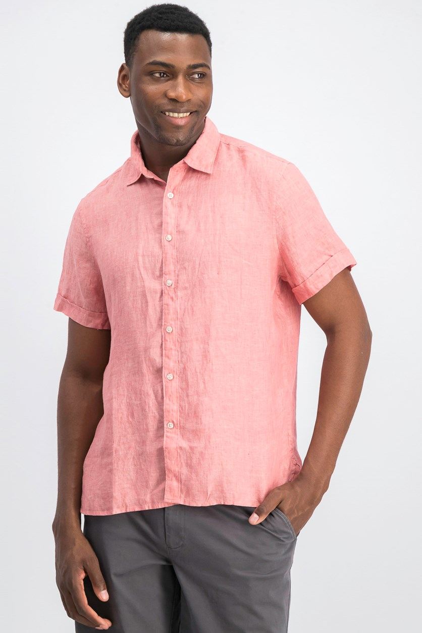 Mens Chambray Linen Shirt, Mineral Red