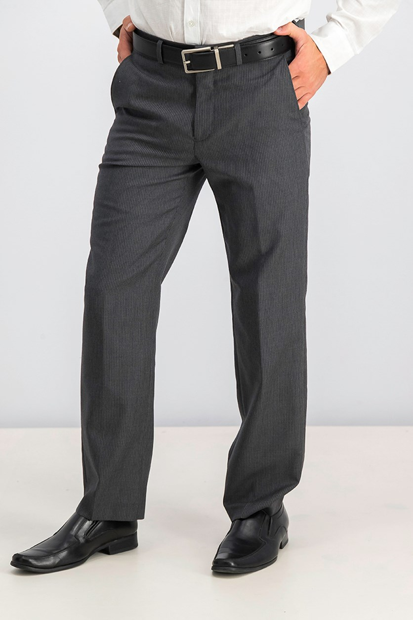 Striped Slim-Fit Pants, Grey