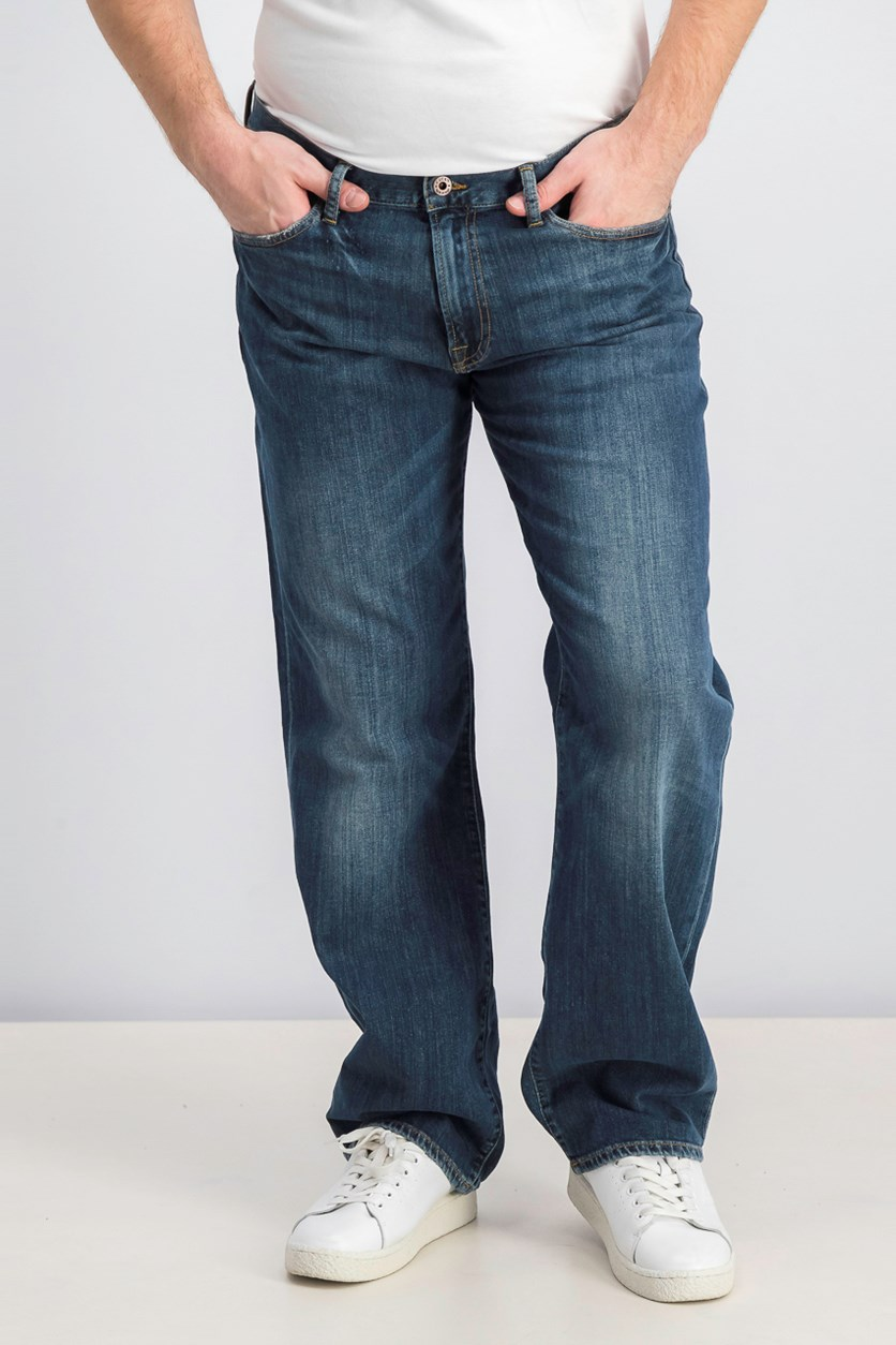 Men's  Vintage Straight Jeans, Blue Wash