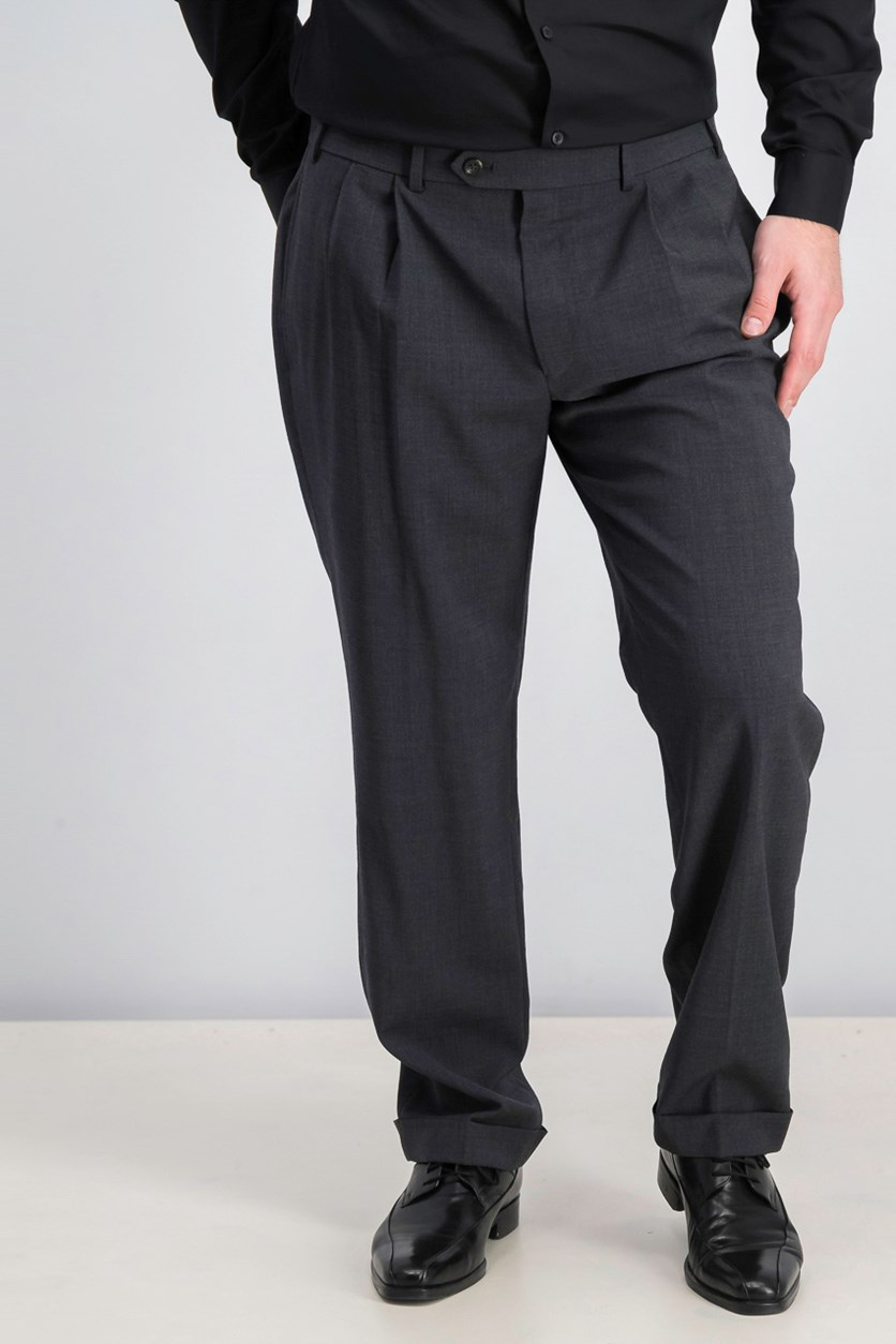 Mens Mid-Weight Pleated Wool Trouser Pants, Charcoal