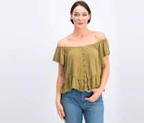 O'Neill Women's Farrah Solid Blouse, Olive