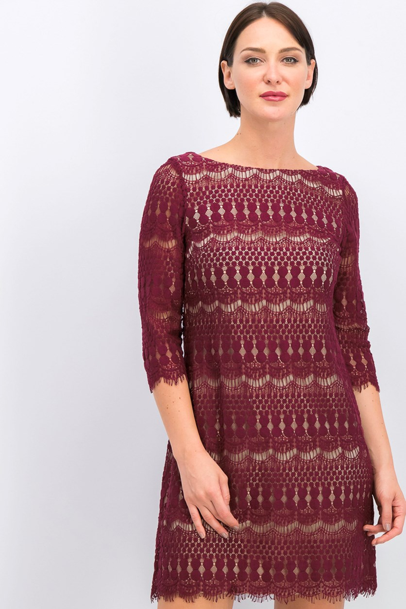 Women's Embroidered Frayed Dress, Maroon