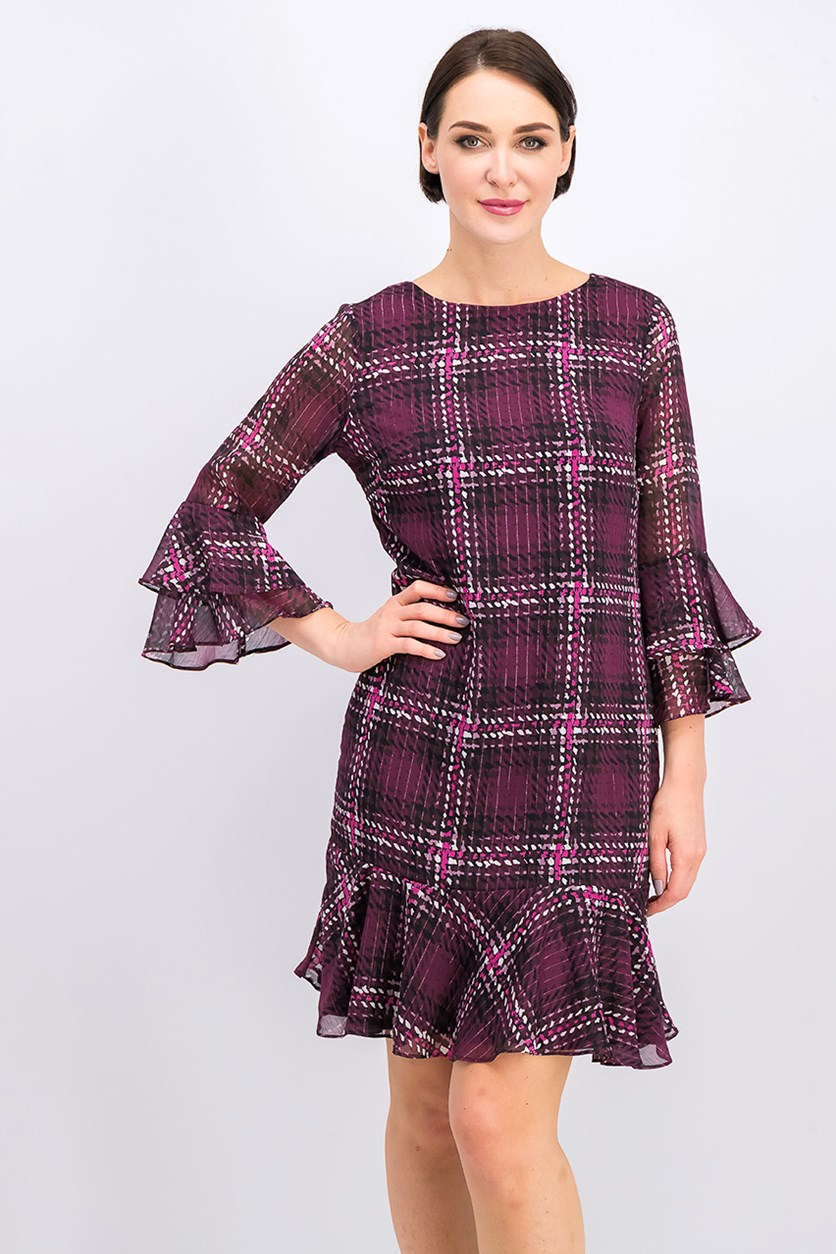 Pleated Plaid Bell Sleeve Jewel Neck Dress, Purple Combo