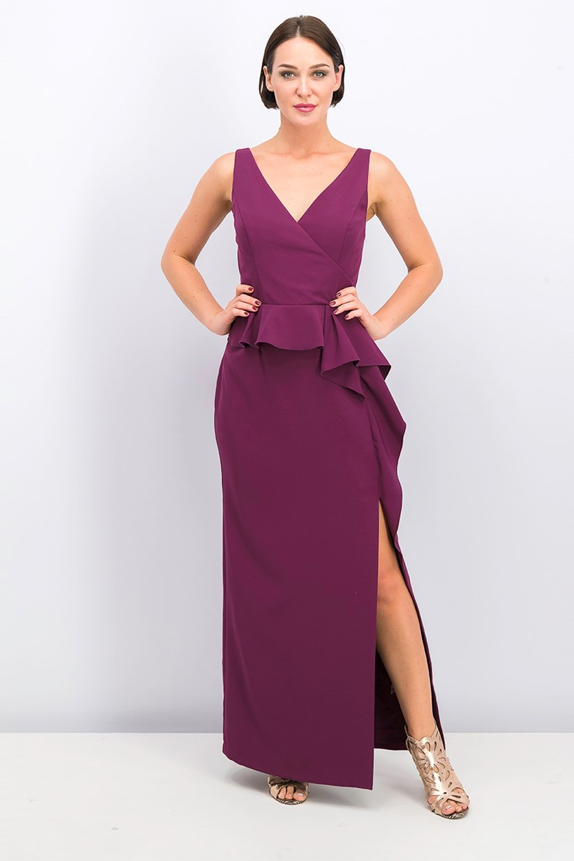 Ruffled Peplum Gown, Plum