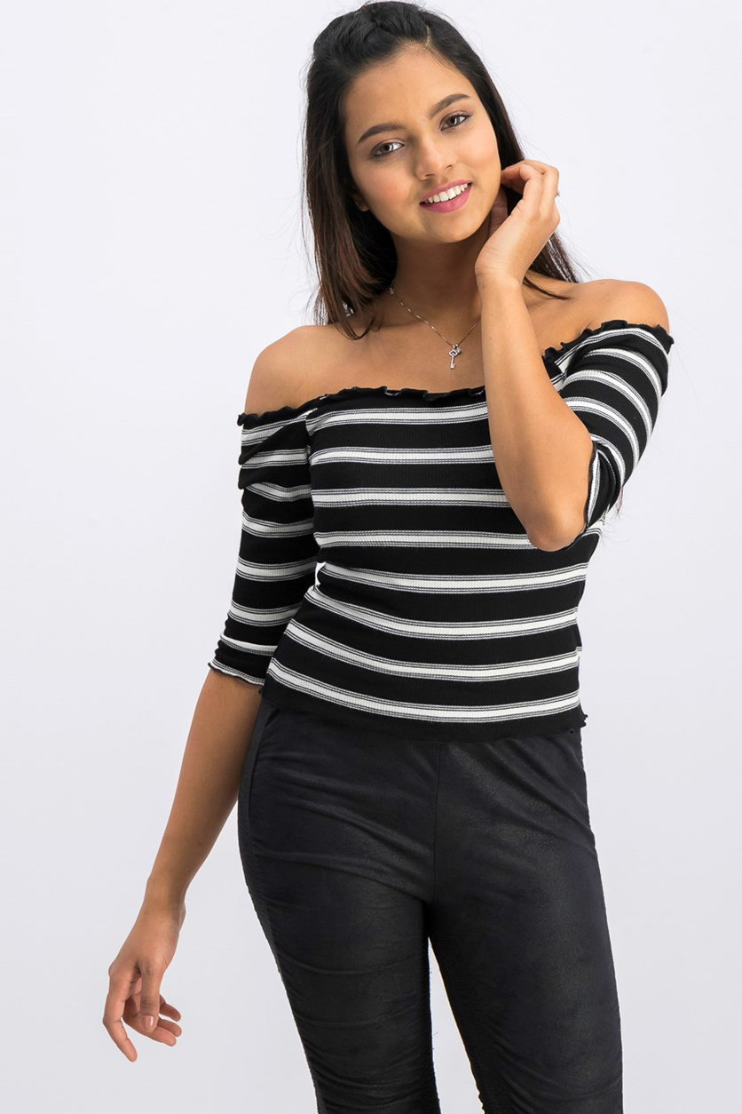 Women Juniors Striped Top, Black/White