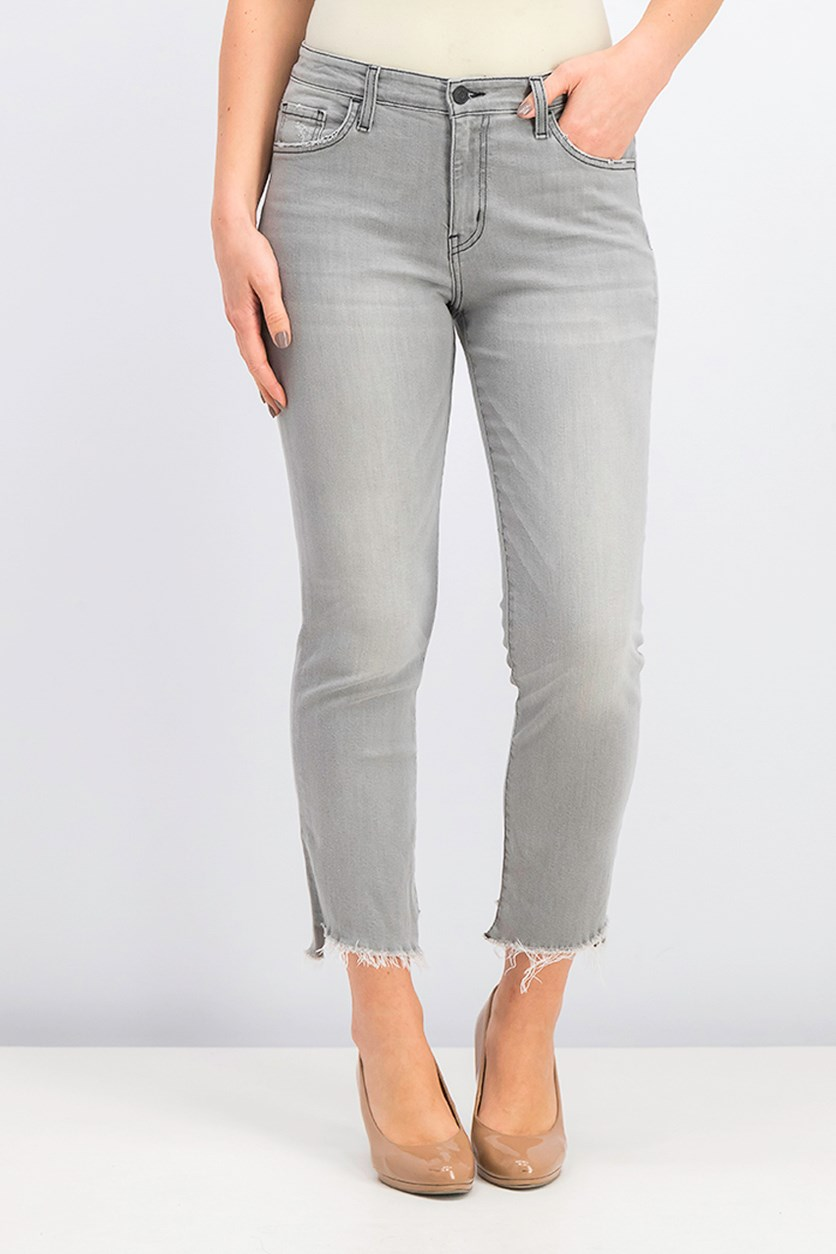 Slanted Step-Hem Jeans, Gray