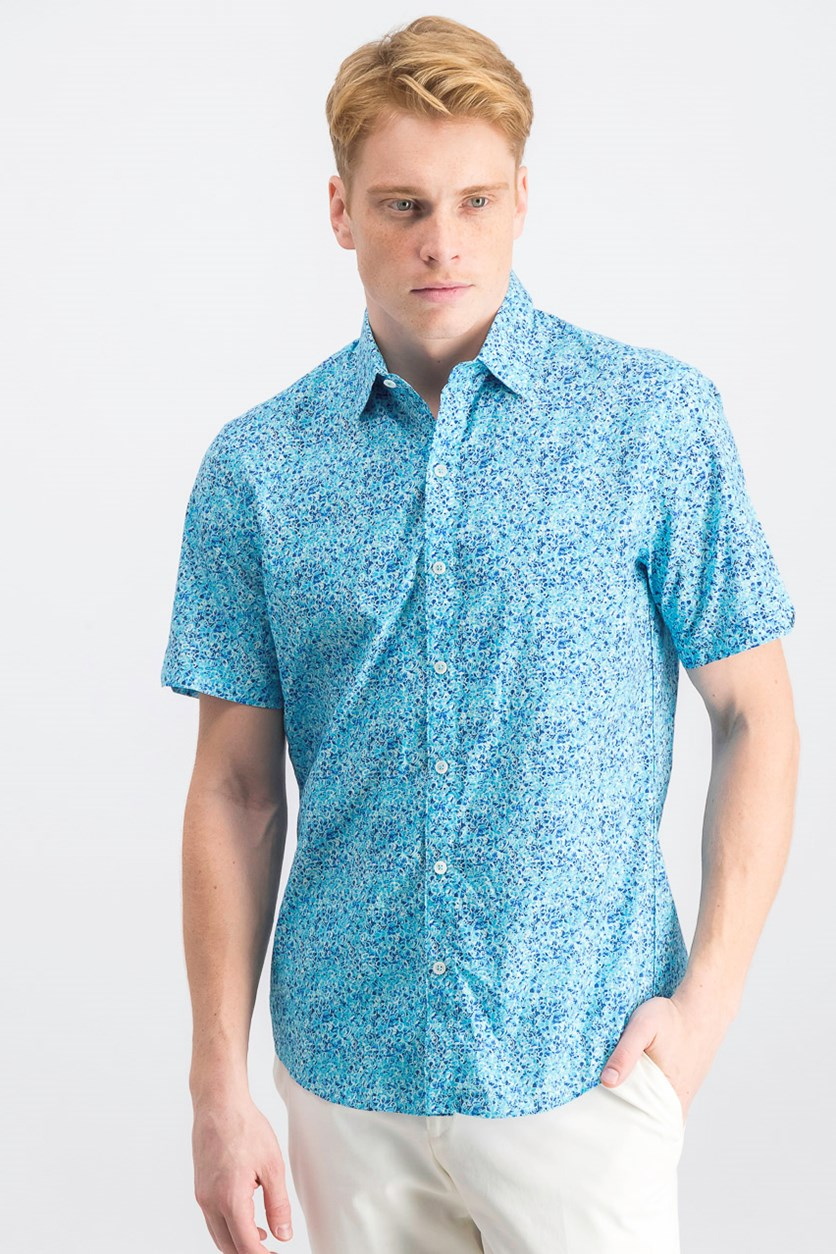 Men's Kincaid Scribble Print Casual Shirt, Kincaid Aqua