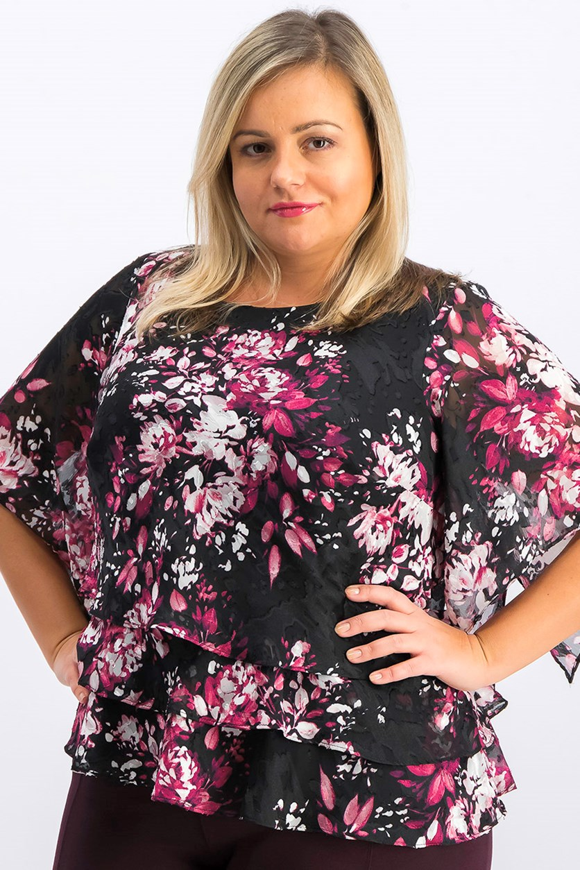 Womens Plus Metallic Floral Print Blouse, Black Combo