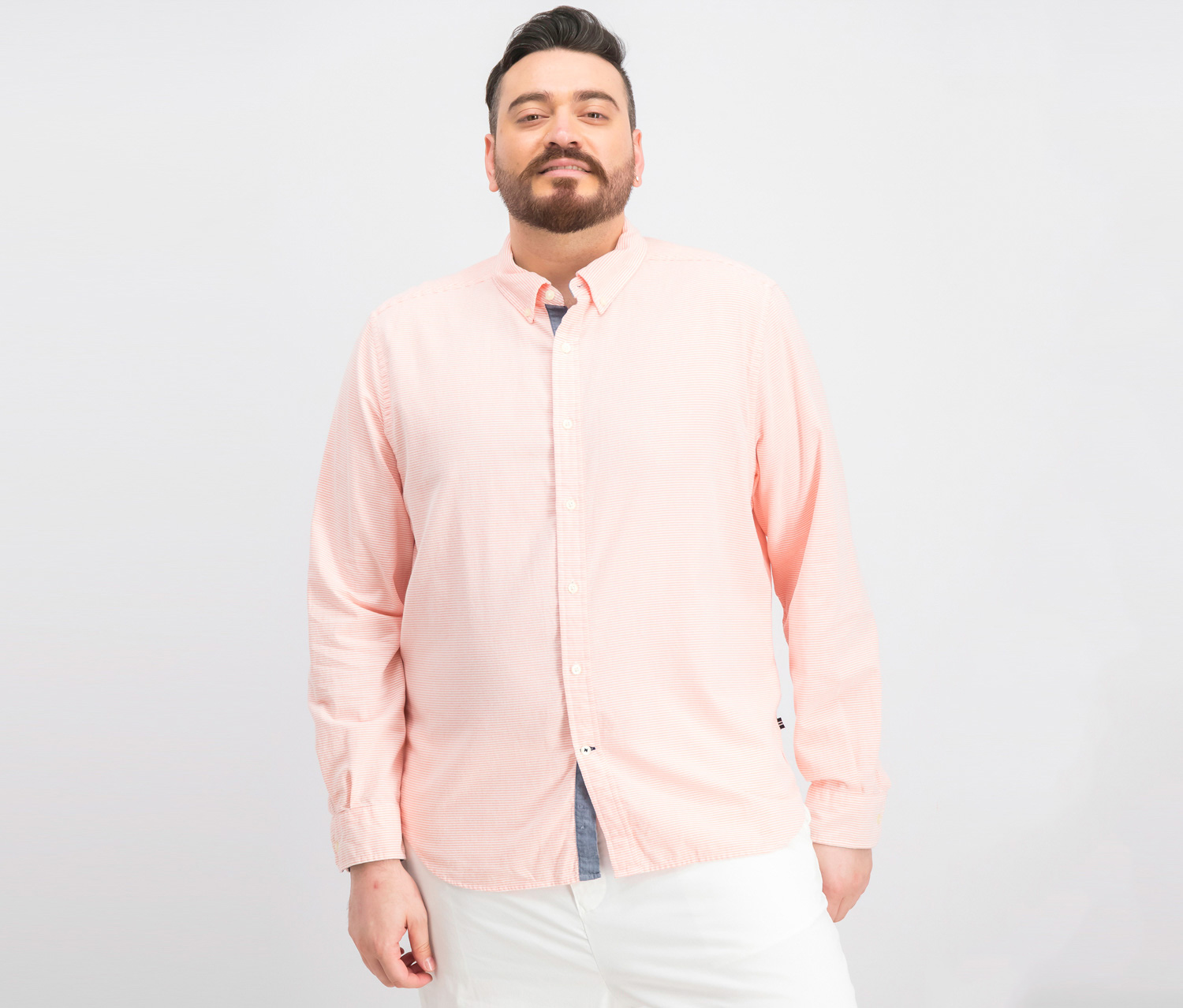 Men's Classic-Fit Horizontal Stripe Shirt, Pale Coral