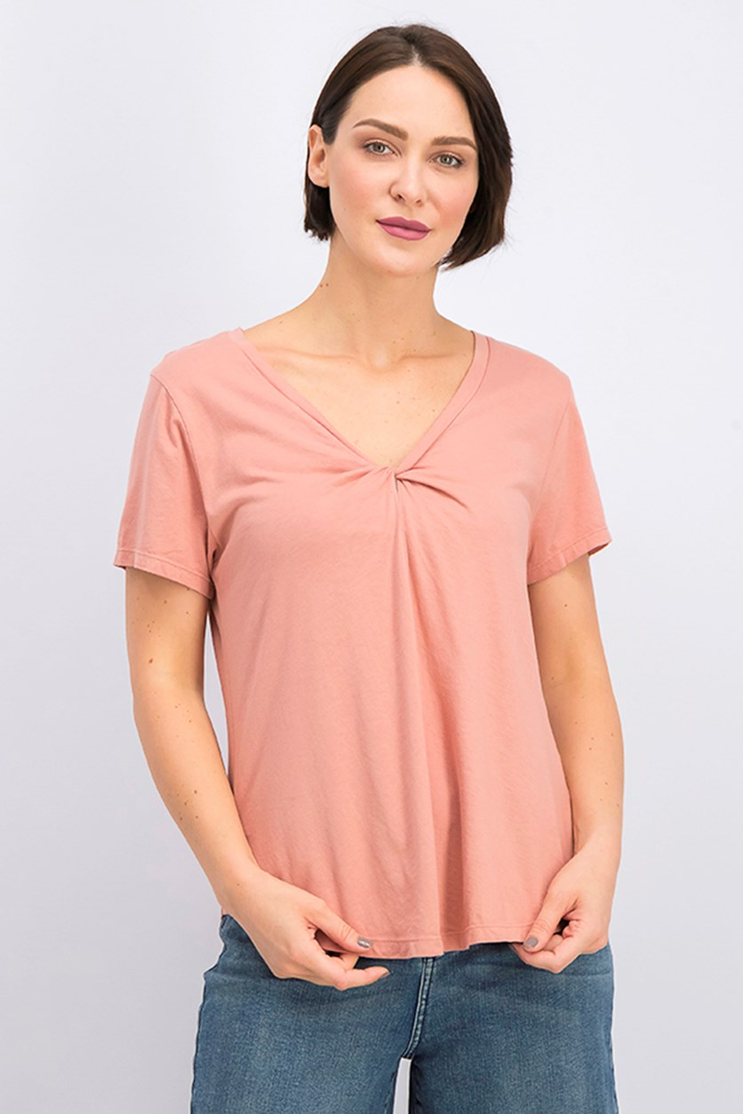 Women's Plain T-Shirt, Dark Peach