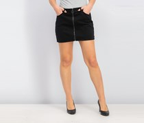 Vanilla Star Juniors Full-Zip Cotton Mini Skirt, Black Wash