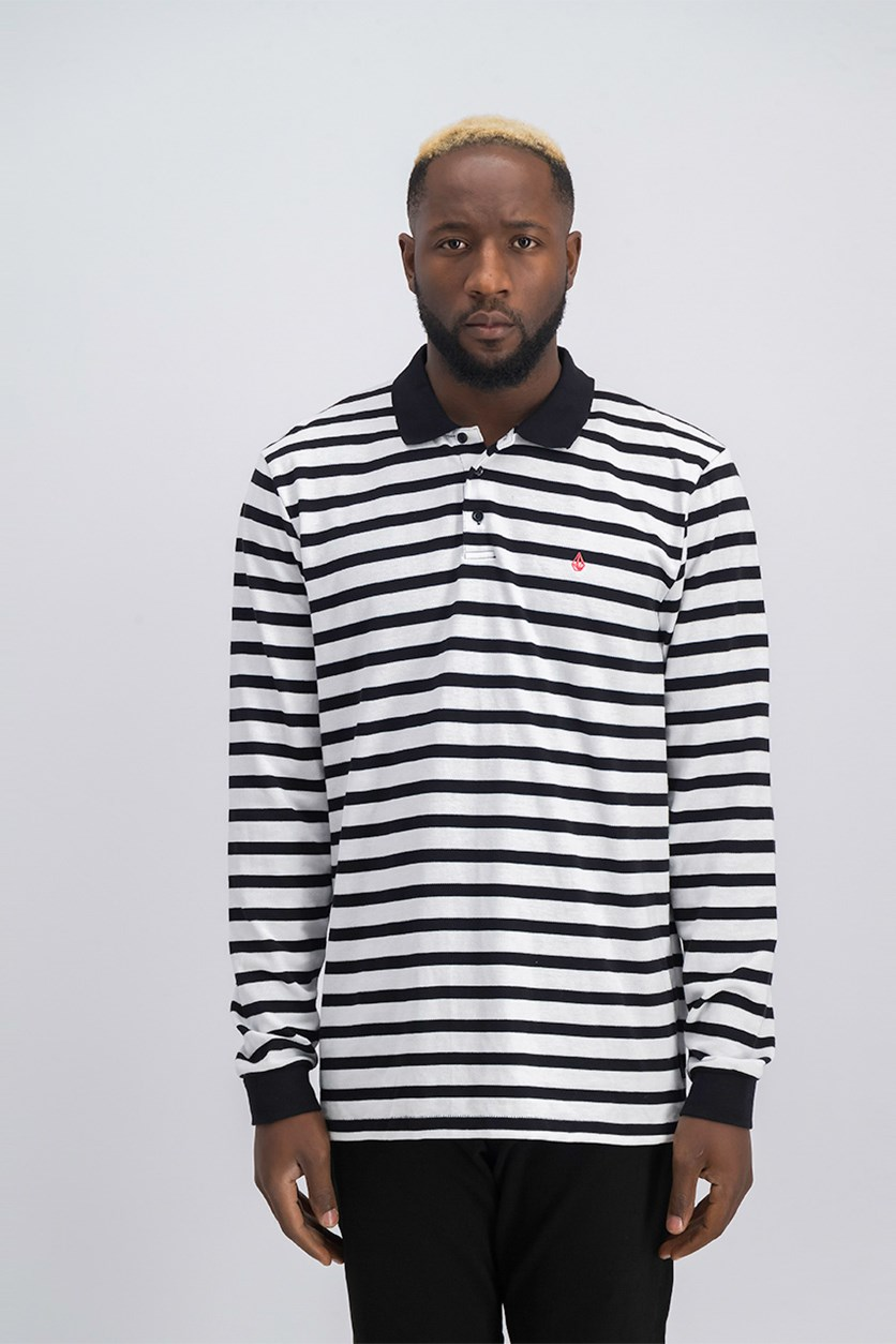 Men Striped Long Sleeve Polo Shirt, Black/White