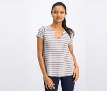 Pink Rose Womens Striped Knit Top, Grey Combo