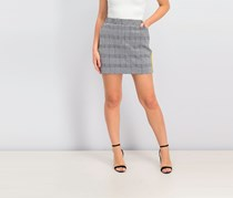 Project 28 Nyc Plaid Mini Skirt, Black/White/Yellow