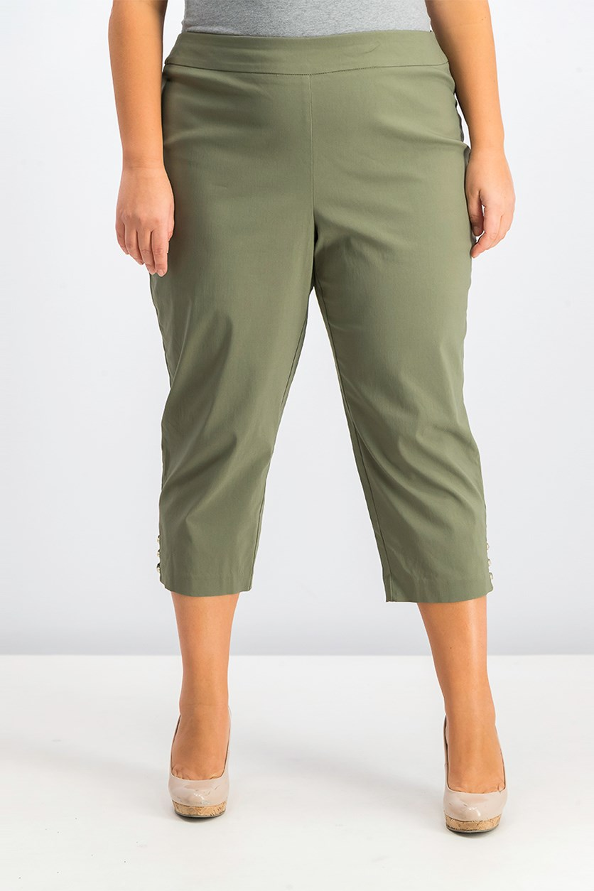 Pull-on Lattice-Inset Capri Pants, Olive Spring