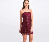 Juniors' Sequined Embroidered Dress, Burgundy
