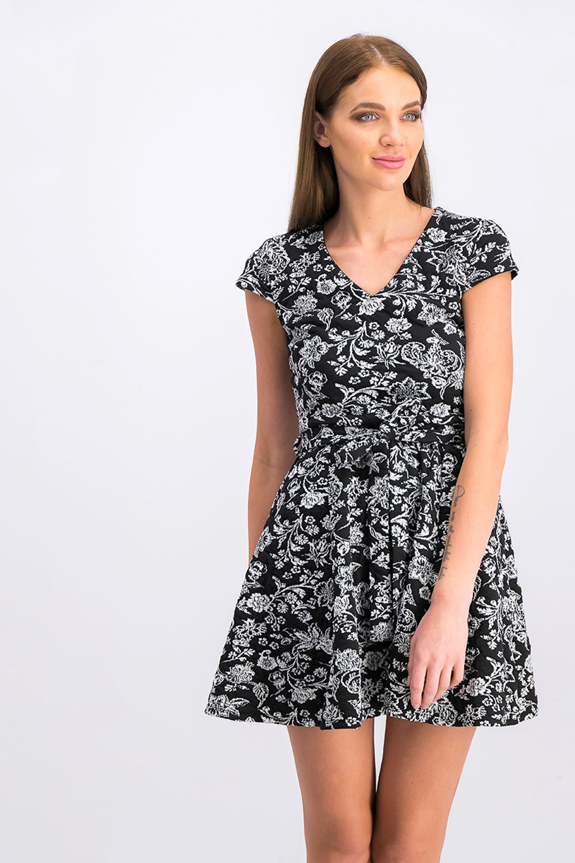 Juniors Floral Jacquard Wrap Dress, Black/Ivory