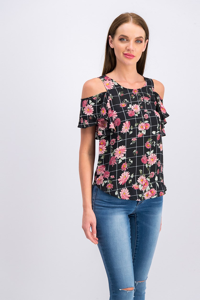 Juniors Cold-Shoulder Top, Black