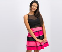 Bcx Juniors Striped Illusion Fit & Flare Dress, Pink/Black