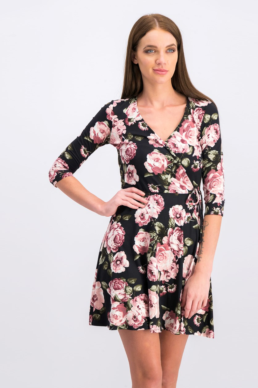 Juniors' Floral-Print Wrap Dress, Black Combo