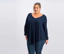 Women's Plus Swing Drapey Tunic Top, Navy