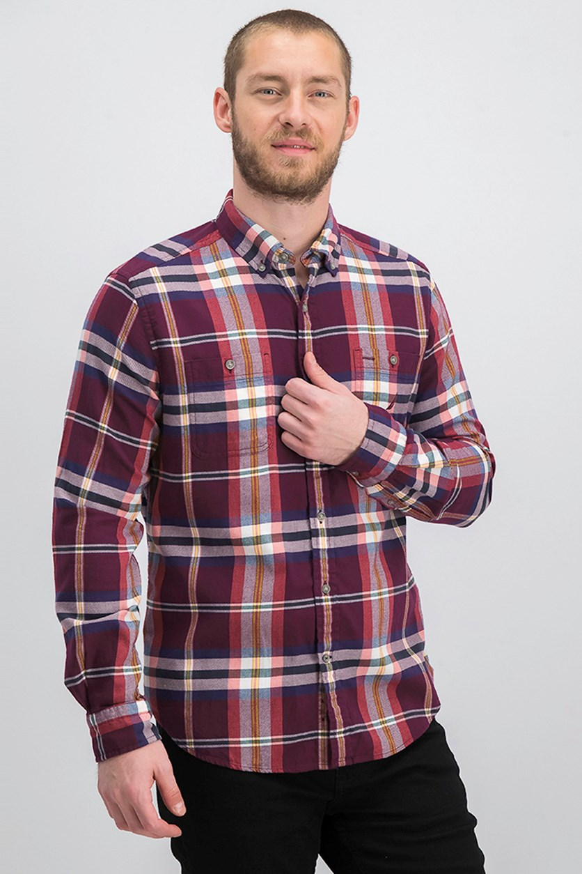 Men's Classic Fit Plaid Flannel Shirt, Royal Burgundy
