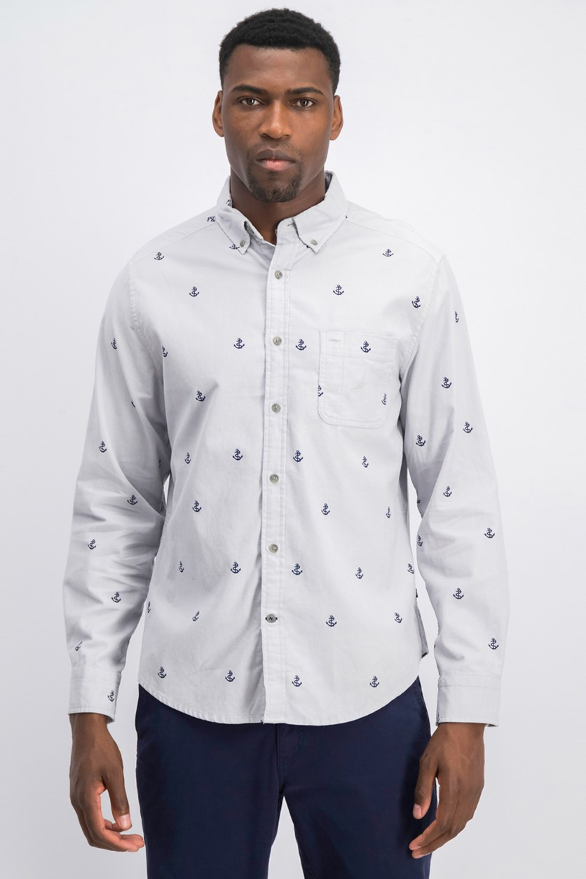 Men's Anchor Print Classic Fit Shirt, Mist Grey