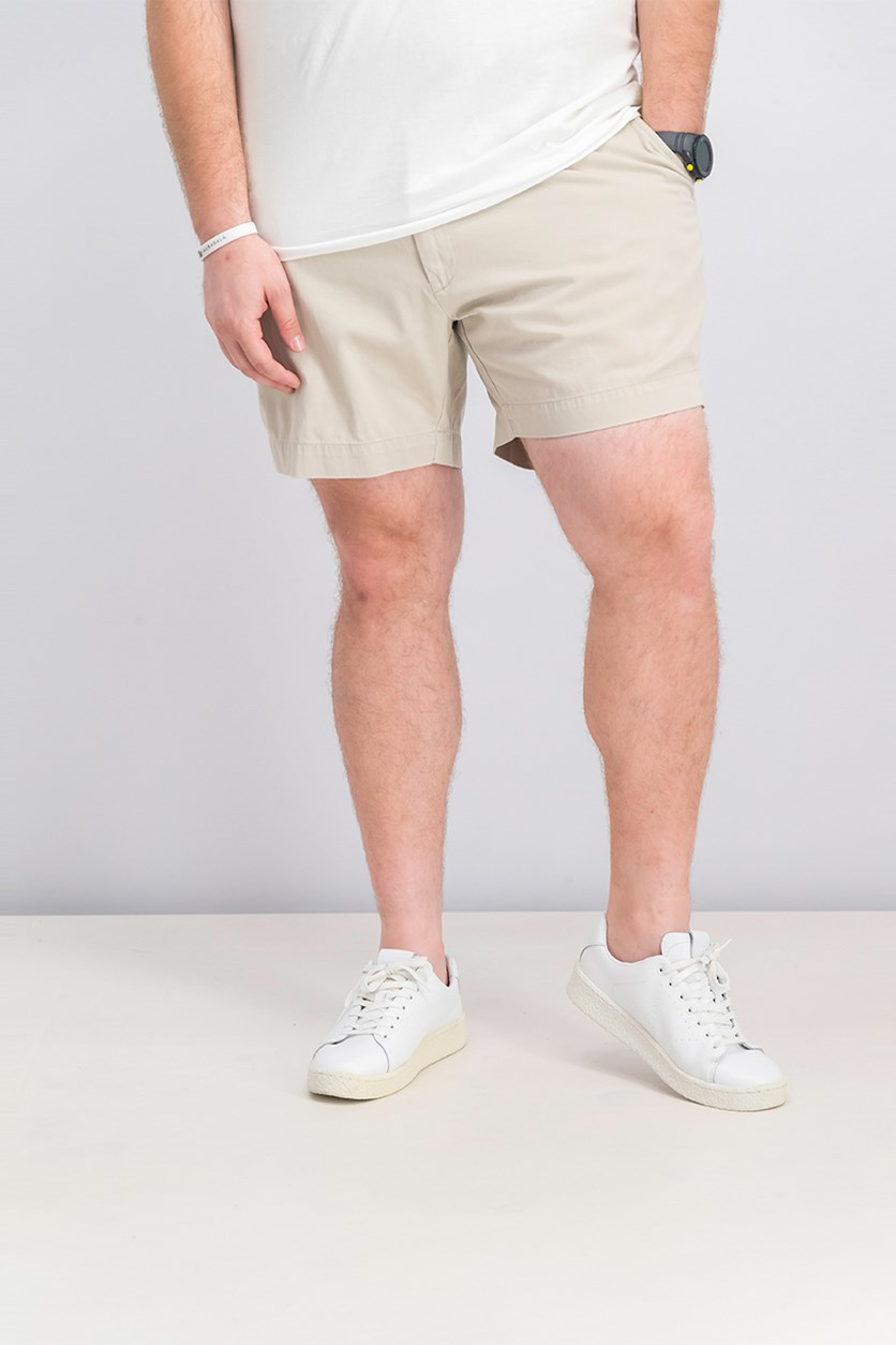 Men's Classic-Fit Flat-Front Chino Shorts, Beige