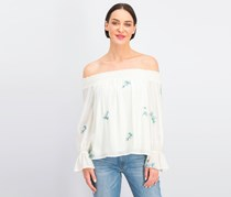 One Hart Juniors' Embroidered Off-the-Shoulder Top, Egret