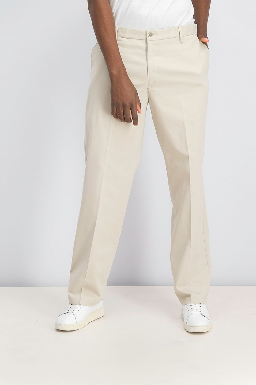 Men's Classic-Fit Flat-Front Stretch Pants, Light Beige