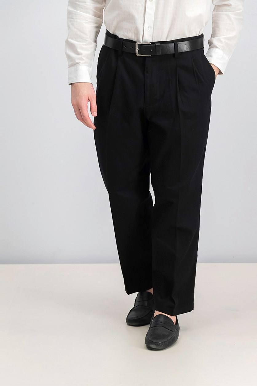 Signature Stretch Classic-Fit Pleated Pants, Black
