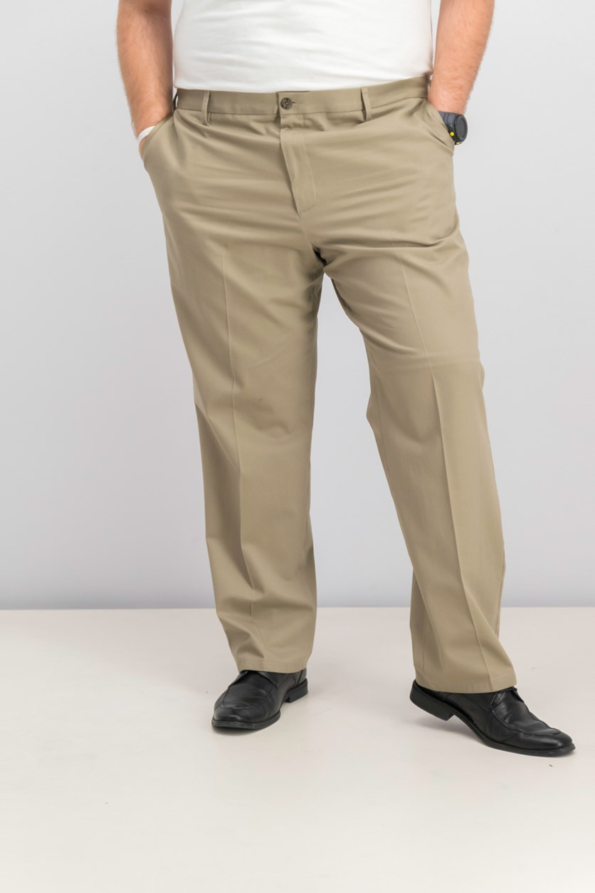 Men's Classic Fit Flat Front Pants, Timberwolf