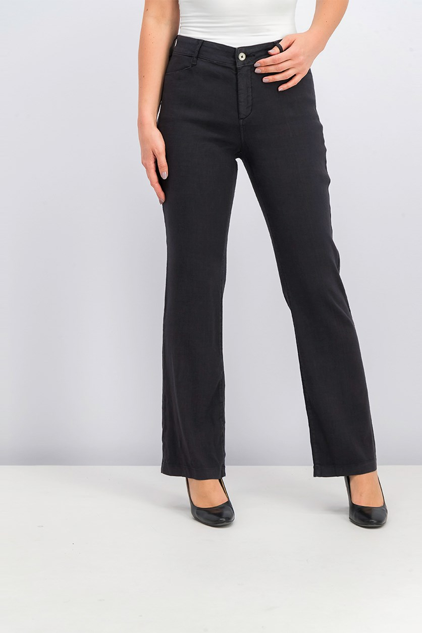 Tummy-Control Slim-Leg Trousers, Black