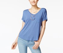 Self Esteem Women's V-Neck High-Low T-Shirt with Necklace, Blue
