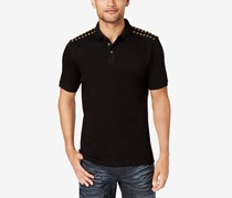 INC Mens Studded Polo, Deep Black