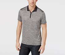Alfani Men's Mesh-Print 1/4-Zip Polo, Black/Silver