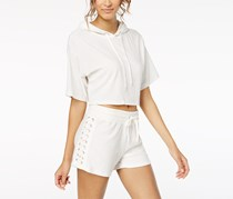 Material Girl Women's  Hooded Crop Top, White