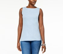 Karen Scott Women's Cotton Sleeveless Crew-Neck Top, Blue