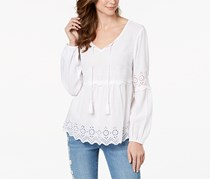 Style & Co Women's Eyelet Bell-Sleeve Top, White