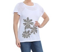INC Women's Embellished Printed Short Sleeve Jewel Neck Top, White