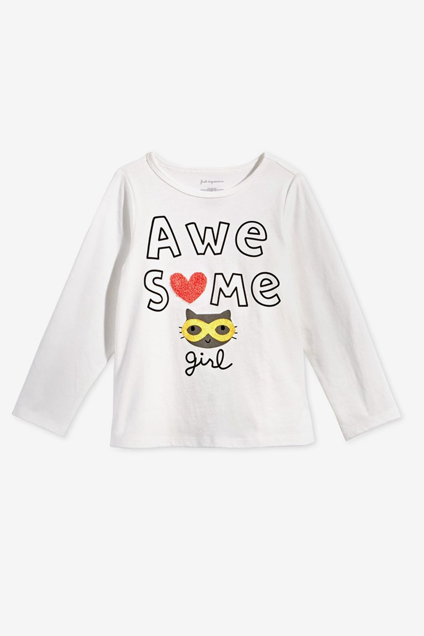 First Impressions Toddlers Girls Awesome-Print Top, Angel White