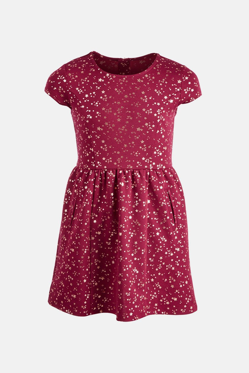 Ponte Knit Star-Print Dress, Maroon