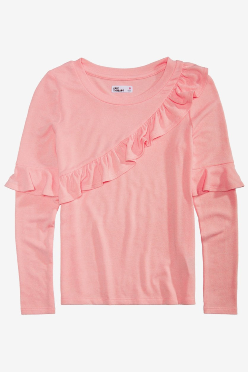 Big Girls Ruffle Trim Sweater-Knit Top, Opal Blush