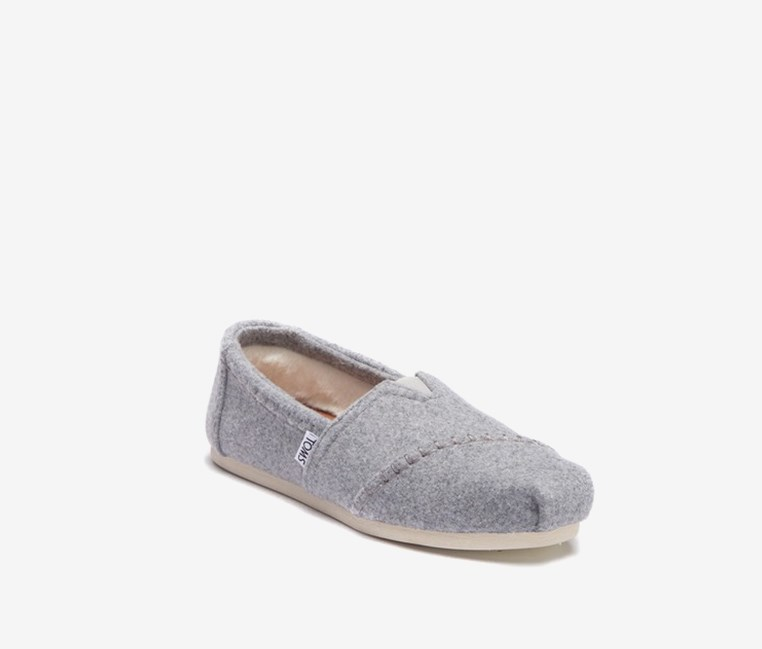 Women's Drizzle Faux Fur Slip-On Flats, Grey