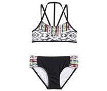 Summer Crush Girl's 2-Pc Mixed-Print Bikini, Black