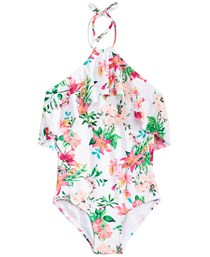 1-Piece Floral-Print Swimsuit, White Combo
