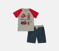 Kids Headquarters Toddler Boys 2-Pc. Graphic Shirt And Short,  Red/Grey/Navy