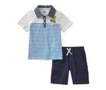 Kids Headquarters Boy's Pineapple Polo & Shorts Set, Navy/White