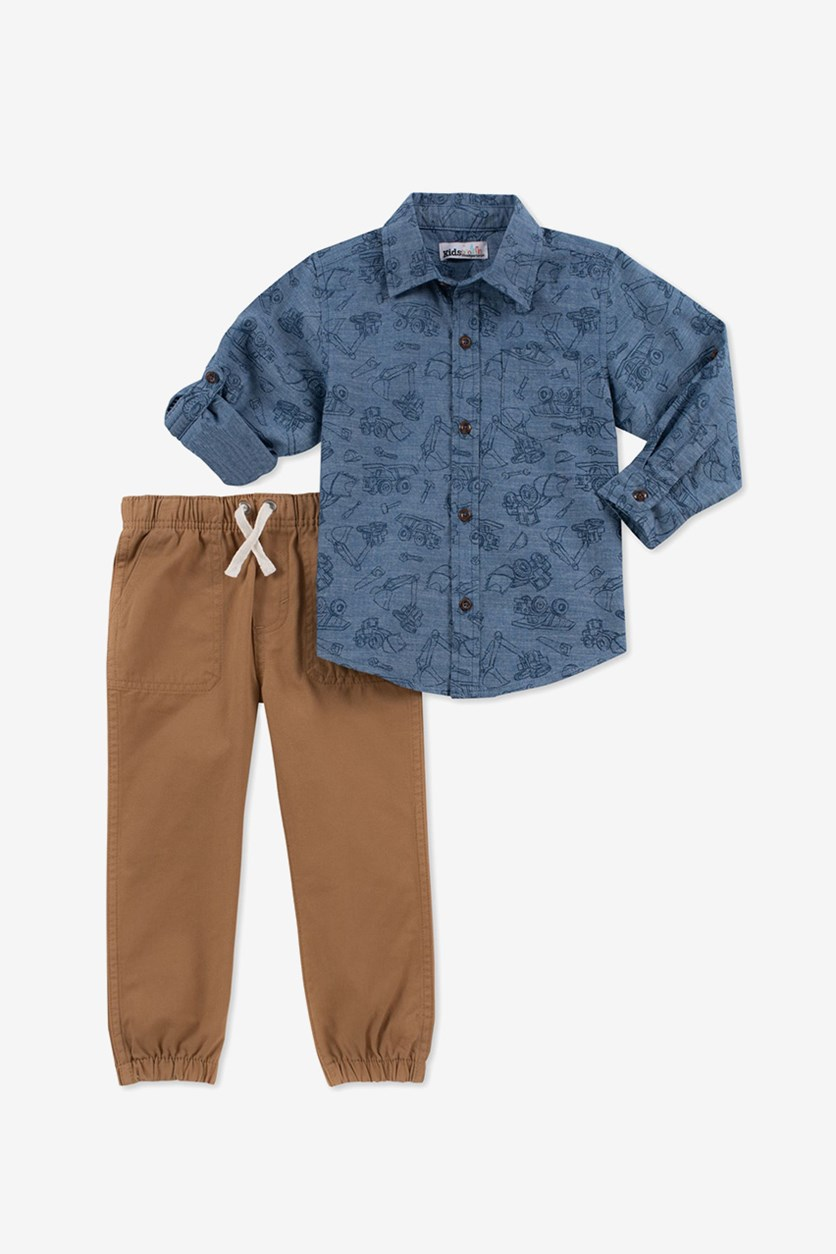 Baby Boys 2-Pc. Truck-Print Shirt & Twill Jogger Pants Set, Blue Combo