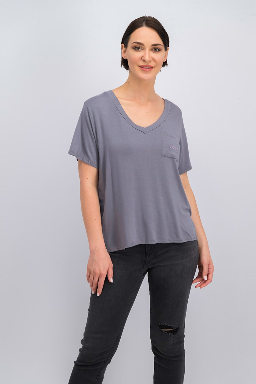 Women's Short Sleeve V-Neck T-Shirt, Gary